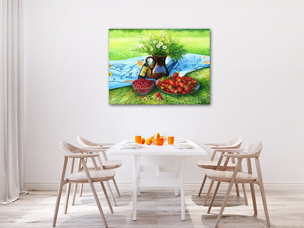 Camomiles And Strawberries Art Prints