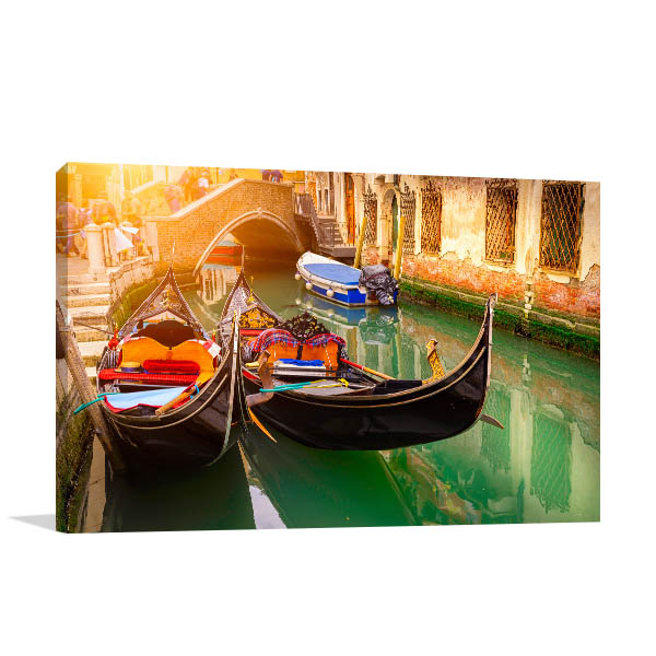 Canal Two Gondolas Wall Art