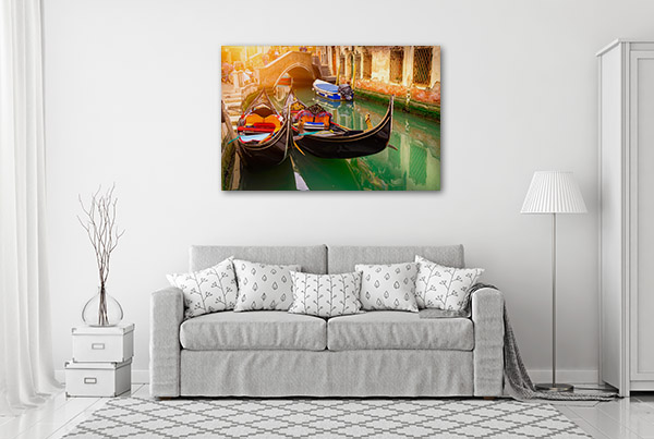 Canal Two Gondolas Canvas Prints