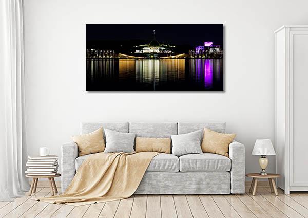 Canberra Skyline Reflection Canvas Prints
