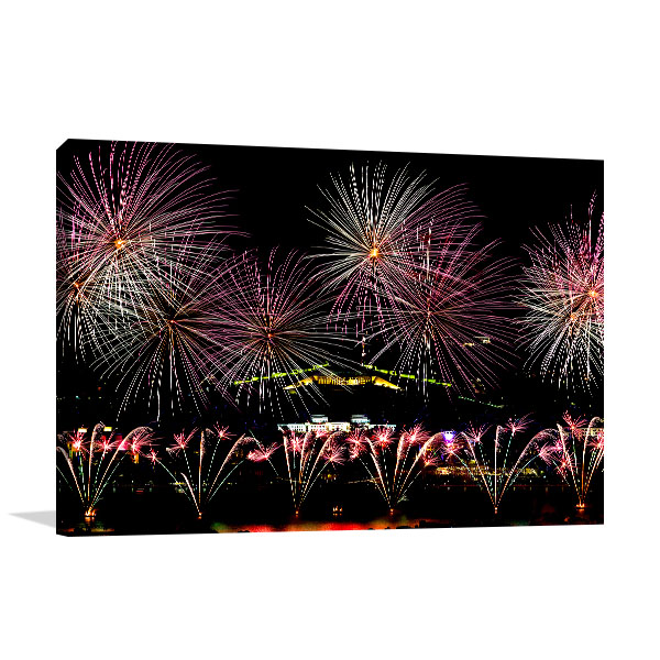 Canberra Wall Print Fireworks Display Picture Art