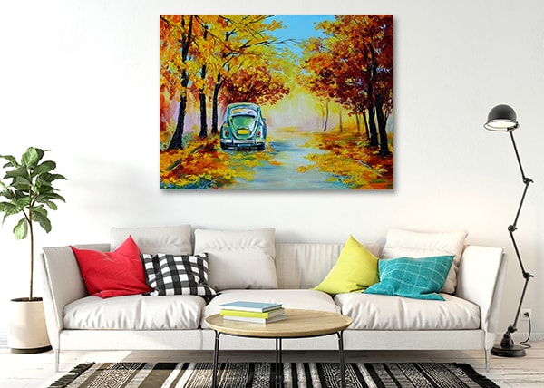 Car in Autumn Road Canvas Artwork on the Wall