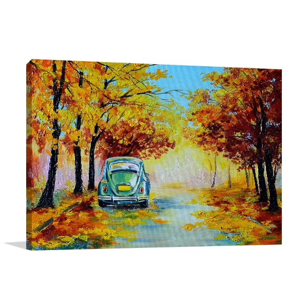 Car in Autumn Road Art Prints