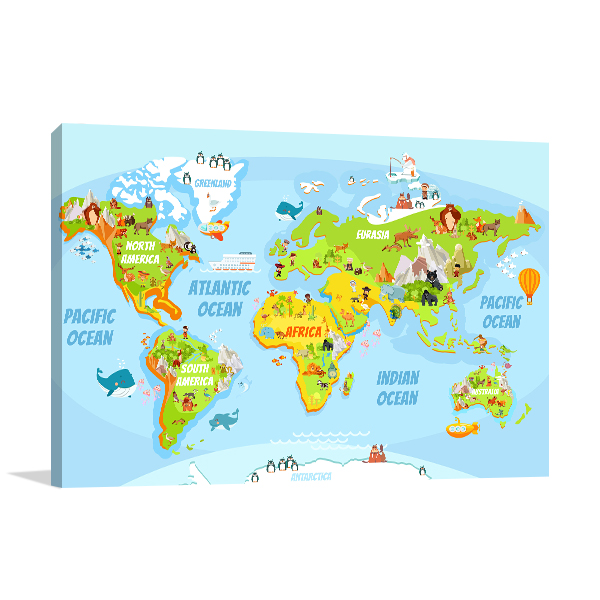 Cartoon World Map Canvas Art Prints