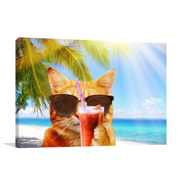 Cat on the Beach Canvas Art Prints