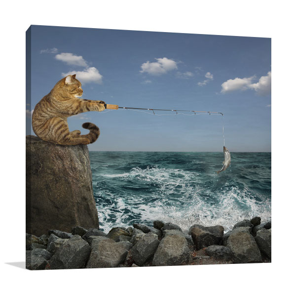 Catching Fish On Shore Artwork