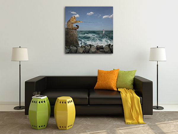 Catching Fish On Shore Prints Canvas