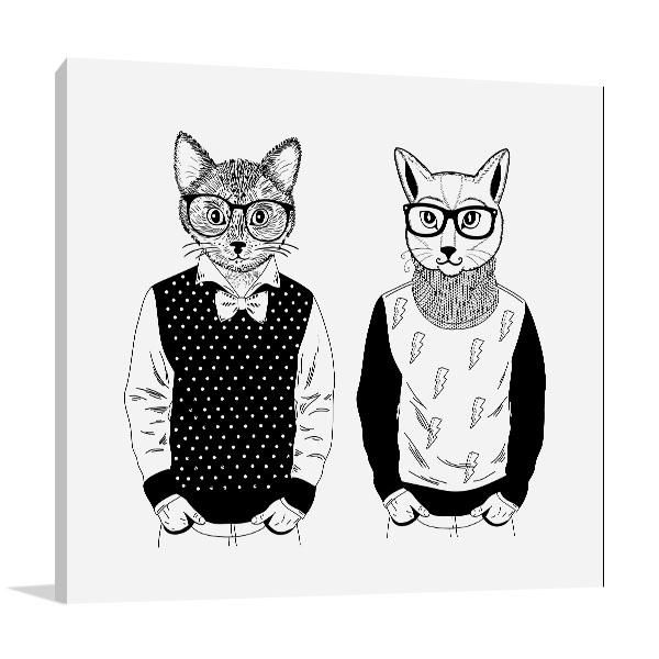 Cats As Fashion Models Canvas Art Prints