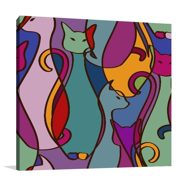 Cats Cubism Wall Art Print