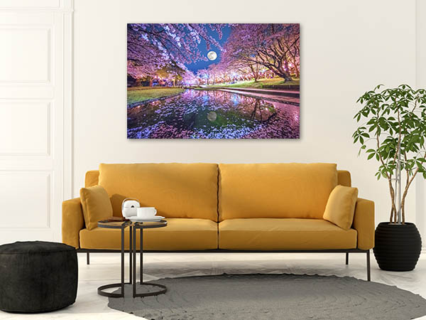 Cherry Blossoms And Moon Canvas Prints
