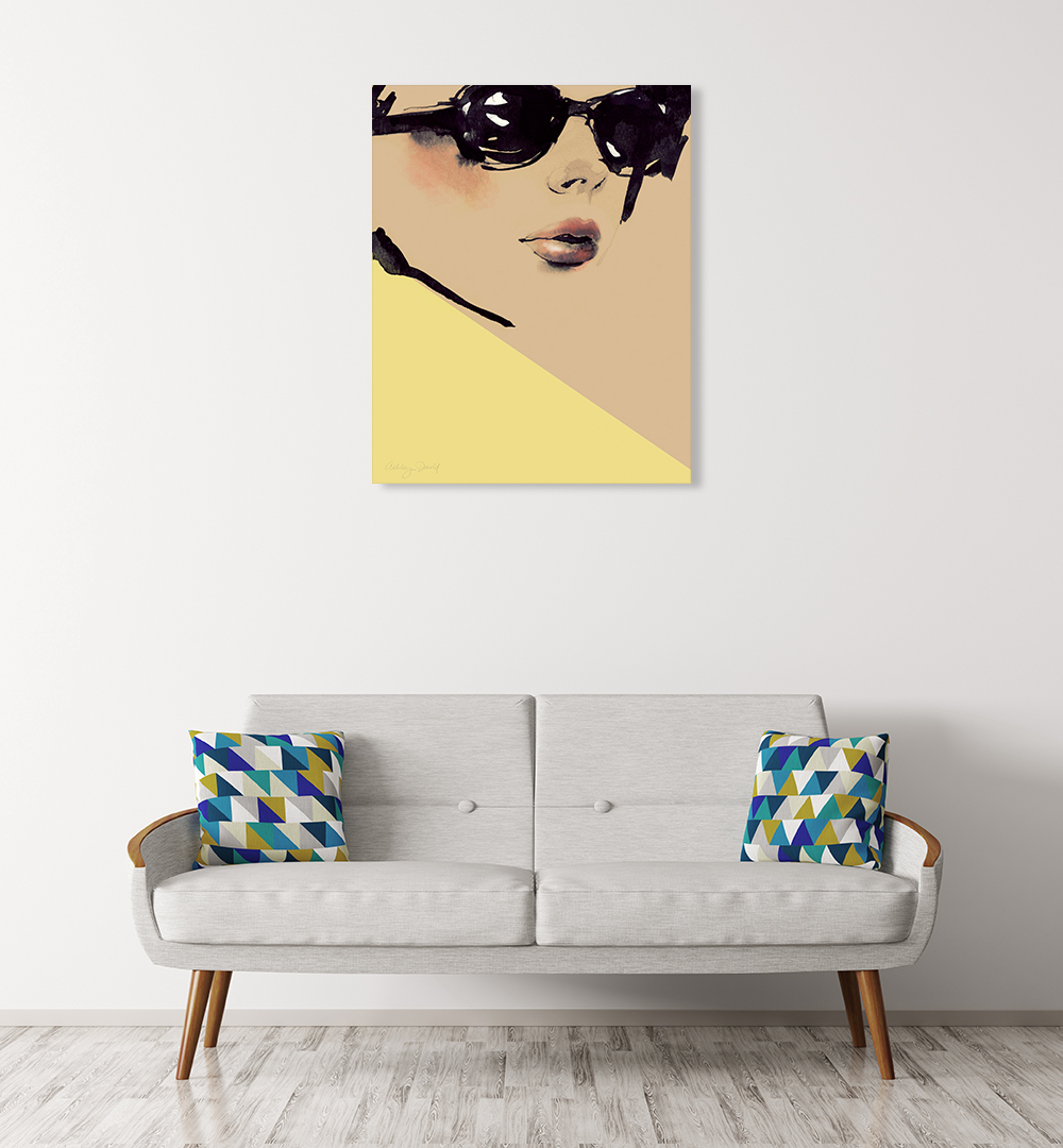 Woman on Yellow Canvas Print