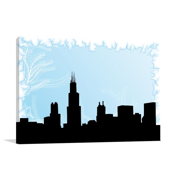 Chicago City On Winter Wall Art