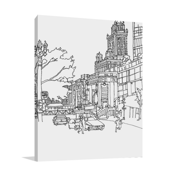 Chicago Cityscape Line Wall Print