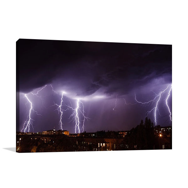 City Lightning Storm Canvas Print
