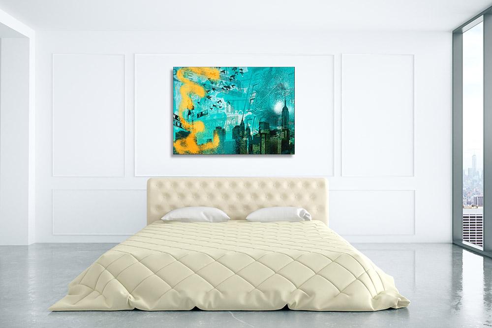 Urban Skyline Digital Art Print on Canvas