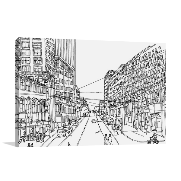 Cityscape Seattle Line Canvas Print