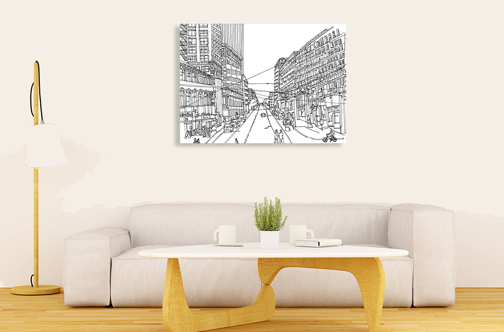 City Illustration Canvas Art Print