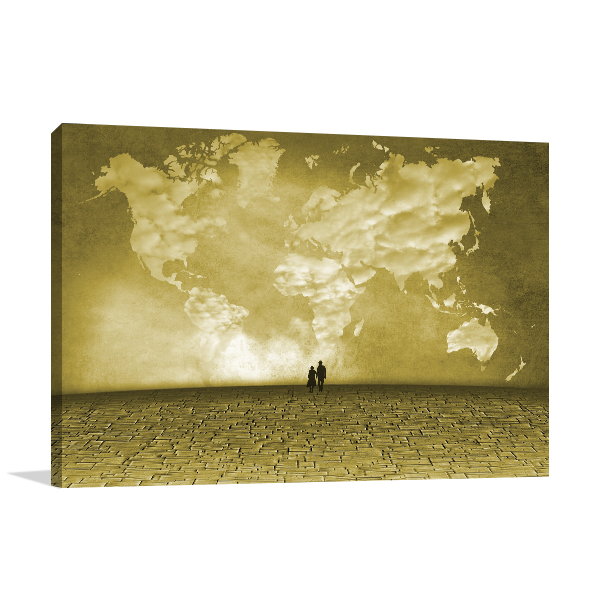 Clouds Of World Map Art Prints