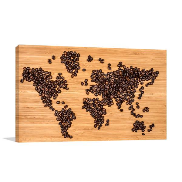 Coffee Bean Map Canvas Prints