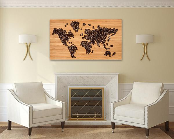 Coffee Bean Map Art Prints