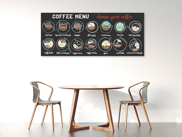 Coffee Menu Prints Canvas