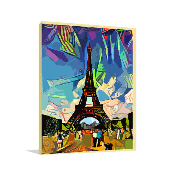Colorful Abstract of Eiffel Tower Art Prints