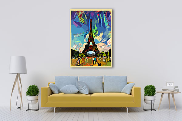Colorful Abstract of Eiffel Tower Canvas Prints