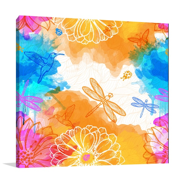 Colourful Insects Canvas Art