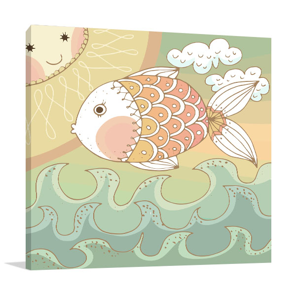 Colorfully Fish Prints Canvas