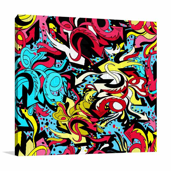 Colour Graffiti Lines Canvas Art