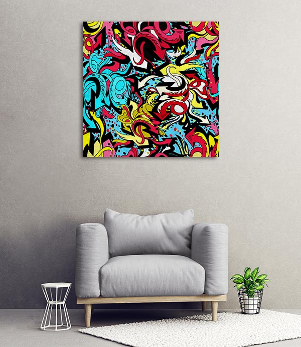 Colour Graffiti Lines Canvas Prints