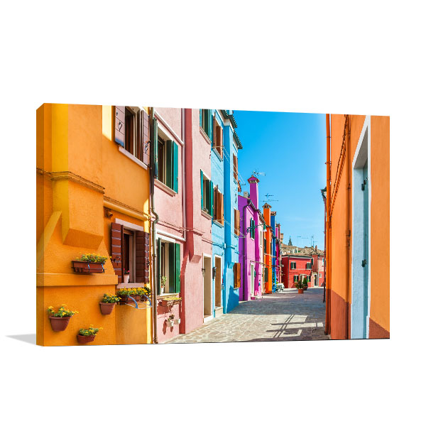 Colourful Houses In Burano Canvas Art