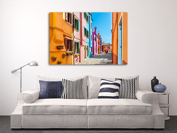 Colourful Houses In Burano Canvas Prints