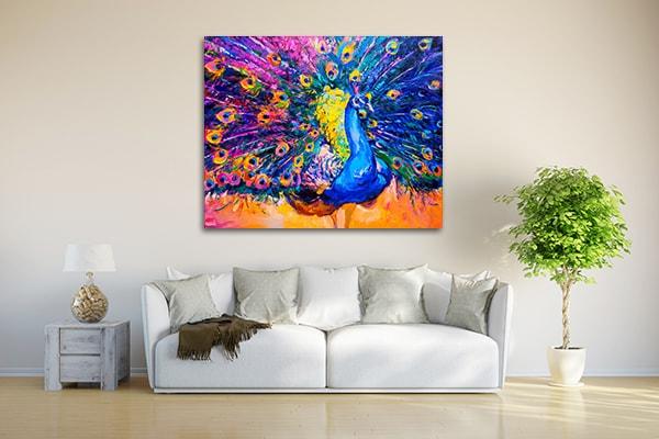 Colourful Peacock Canvas Prints