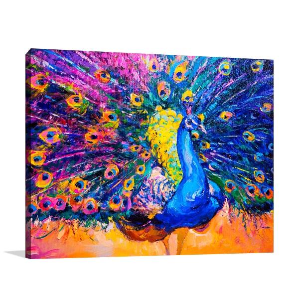 Colourful Peacock Wall Art Print