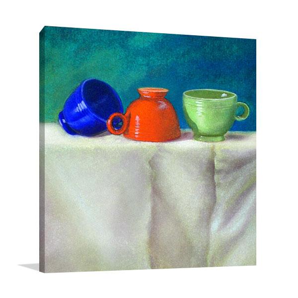 Colourful Retro Teacups Art Prints