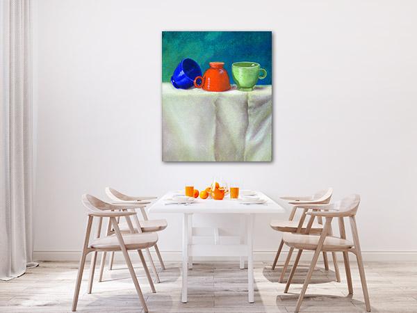 Colourful Retro Teacups Canvas Art