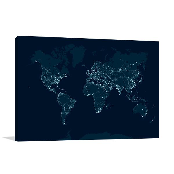 Communications Network Map Wall Art