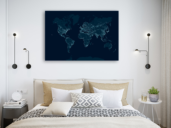 Communications Network Map Canvas Art Prints