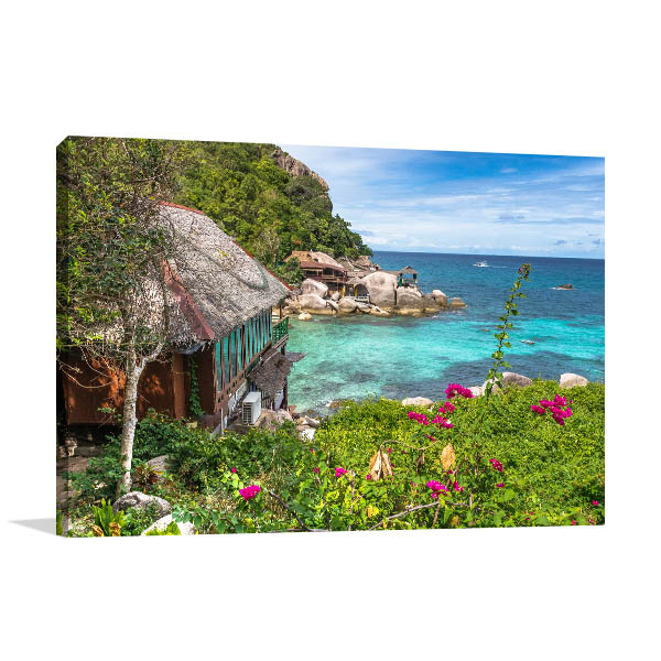 Cottage By The Beach Canvas Prints
