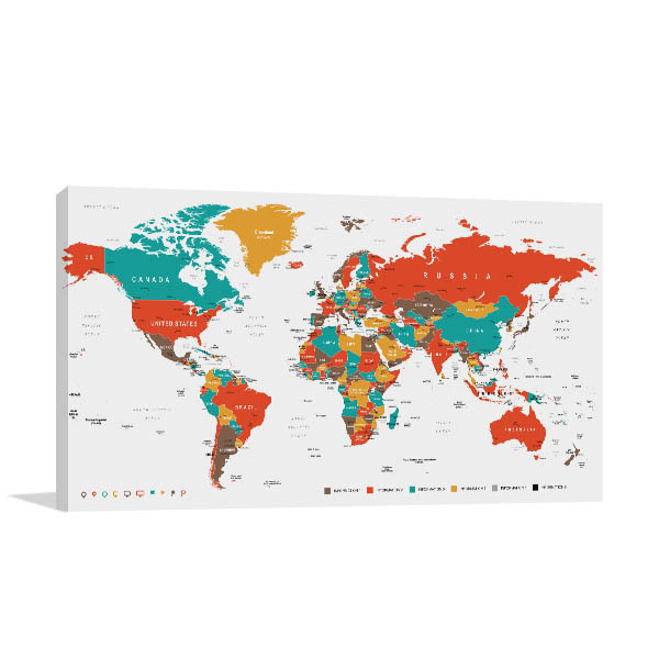 Countries And Cities Map Canvas Art