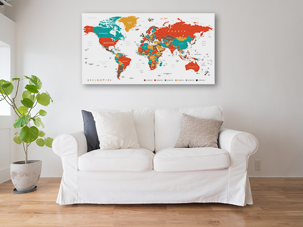 Countries And Cities Map Canvas Prints