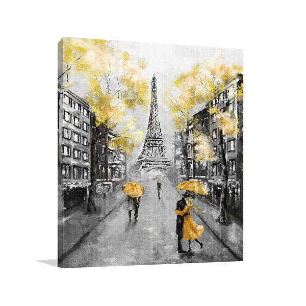 Couple on Streets of Paris Print Artwork