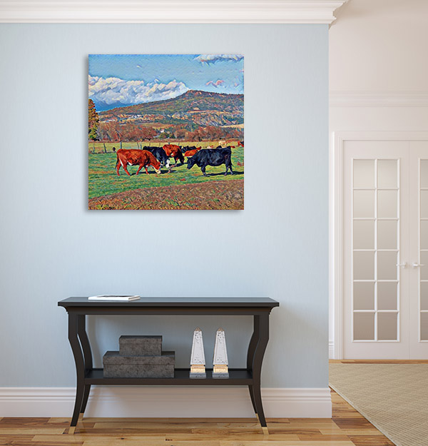 Cows Grazing in Farm Print Artwork