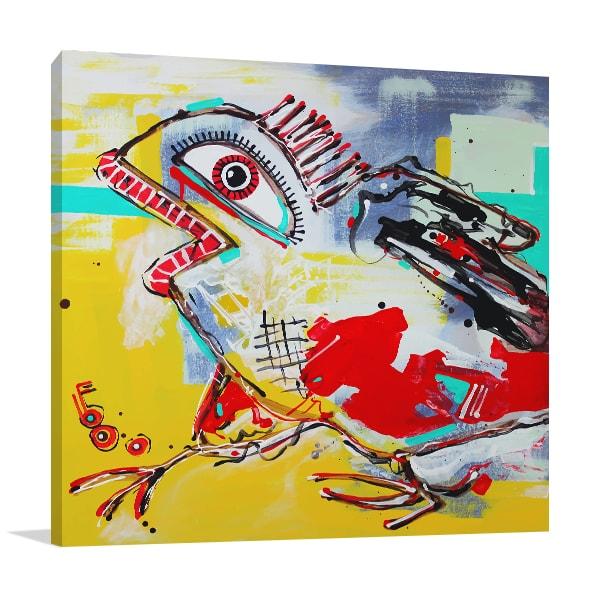 Crazy Bird Wall Canvas