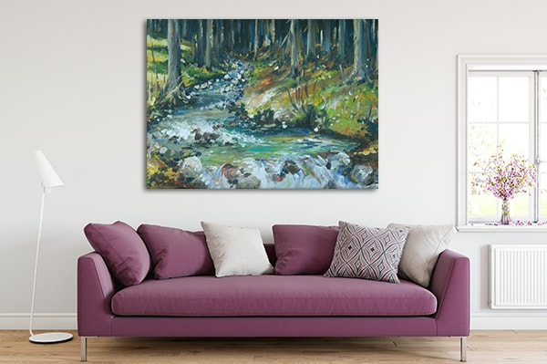 Creek in Forest Canvas Art