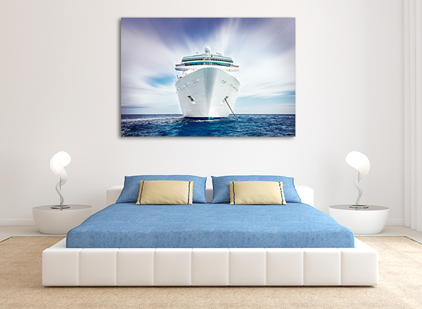 Cruising Ship Wall Art Print on the wall