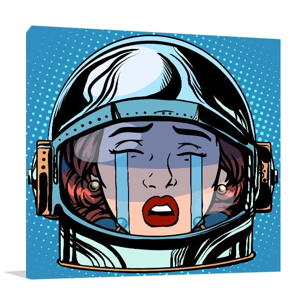 Crying Astronaut Canvas Art Print