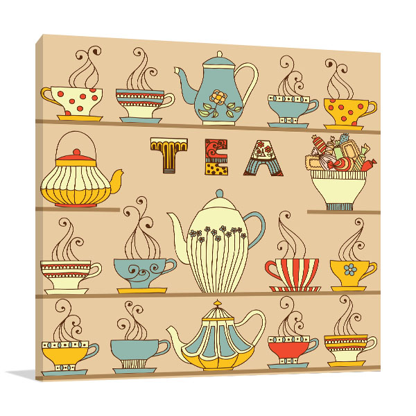Cups And Teapots Canvas Art Prints