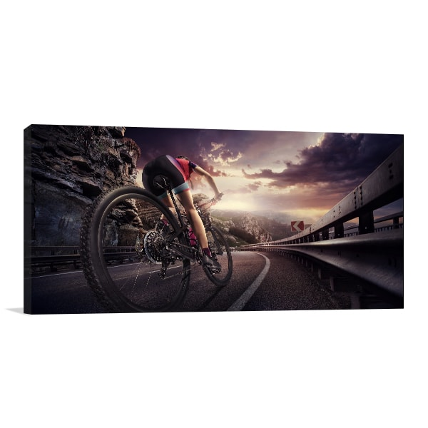 Cyclist on Sunset Canvas Artwork